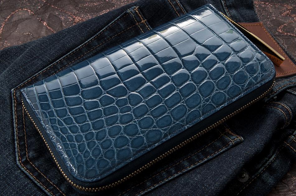 品質に定評のあるこだわりのメンズ財布ブランド 池田工芸 クロコダイル ロングウォレット ダブルゴールドパイソンモデル