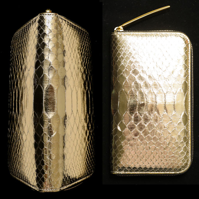 個性的で美しい模様が魅力のパイソン財布 池田工芸 All Gold Python Million Wallet